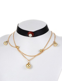 Fashion Gold Color+black Ball Shape Decorated Choker