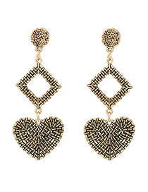 Fashion Antique Gold Heart Shape Decorated Earrings