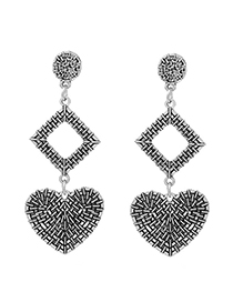 Fashion Antique Silver Heart Shape Decorated Earrings