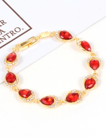 Fashion Red Water Drop Shape Diamond Decorated Bracelet