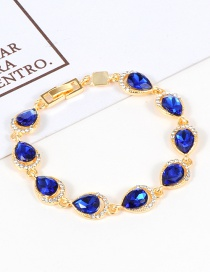Fashion Blue Water Drop Shape Diamond Decorated Bracelet