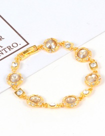 Fashion Champagne Round Shape Diamond Decorated Bracelet