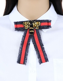 Fashion Navy+red Bee Shape Decorated Bowknot Brooch