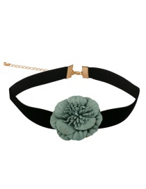 Fashion Black+green Flower Decorated Simple Choker