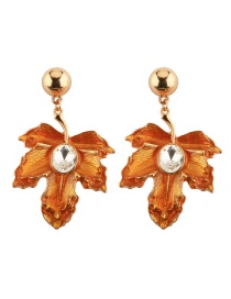 Fashion Orange Ginkgo Leave Decorated Simple Earrings
