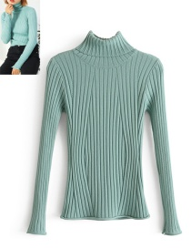 Trendy Green Pure Color Decorated Long Sleeves Sweater