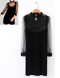Trendy Black Pure Color Decorated Patchwork Dress
