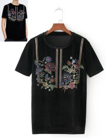 Fashion Black Flower Pattern Decorated Short Sleeves Blouse