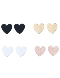 Trendy Multi-color Heart Shape Decorated Simple Earrings(4pcs)