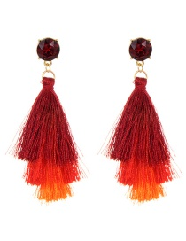 Trendy Red Diamond Decorated Long Tassel Earrings