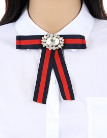 Trendy Red+navy Diamond Decorated Bowknot Shape Brooch