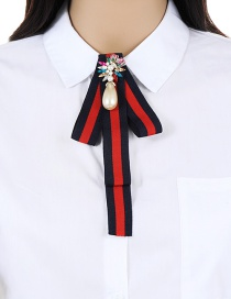 Trendy Red+navy Pearl&diamond Decorated Bowknot Brooch