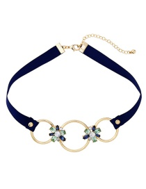 Vintage Blue Hollow Out Decorated Choker