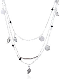 Bohemia Silver Color Leaf&round Shape Decorated Multilayer Necklace