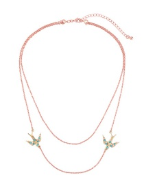 Elegant Gold Color Bird Shape Decorated Double-layer Necklace