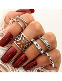 Fashion Silver Color Hollow Out Design Pure Color Ring Sets(6pcs)