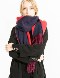 Fashion Red Labeling Decorated Long Tassel Scarf
