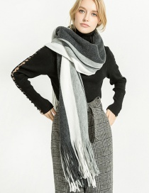 Fashion Gray+white Color Matching Decorated Tassel Scarf