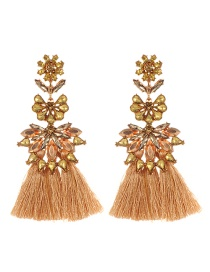 Fashion Khaki Diamond&flower Decorated Tassel Earrings