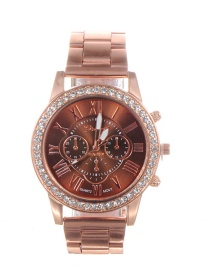 Fashion Brown Diamond Decorated Round Dial Watch