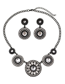 Fashion Black Round Diamond Decorated Jewelry Ets
