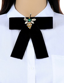 Fashion Black Bee Shape Decorated Bowknot Brooch