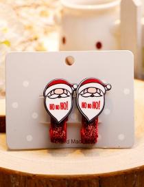 Fashion Red+white Santa Claus Decorated Christmas Hairpin (1pair)