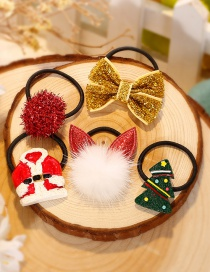 Fashion Red+gold Color Fuzzy Ball Decorated Christmas Hair Band (5pcs)