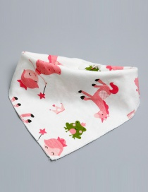 Lovely Pink+white Horse Pattern Decorated Bib
