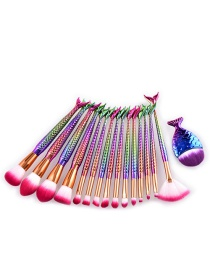 Lovely Multi-color Color-matching Decorated Brushes (15pcs)