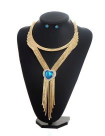 Fashion Gold Color+blue Heart Shape Decorated Tassel Jewelry Sets
