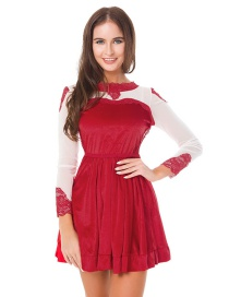 Fashion Red Lace Decorated Long Sleeves Dress