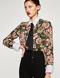 Trendy Multi-color Flower Pattern Decorated Long Sleeves Shirt