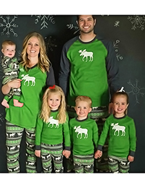 Fashion Green Elk Pattern Decorated Leisure Blouse(for Child)