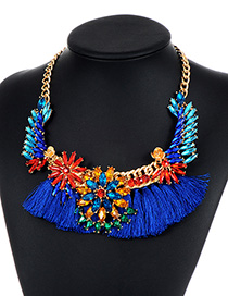 Vintage Blue Flower Shape Decorated Tassel Necklace