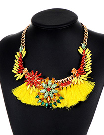 Vintage Yellow Flower Shape Decorated Tassel Necklace