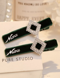 Fashion Green Square Shape Decorated Hair Clip