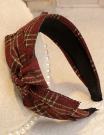 Lovely Claret Red Grid Pattern Decorated Hair Hoop