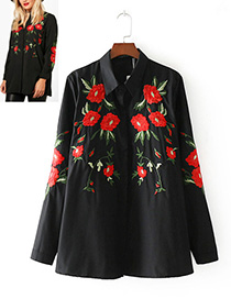 Vintage Black Embroidery Flowers Decorated Shirt