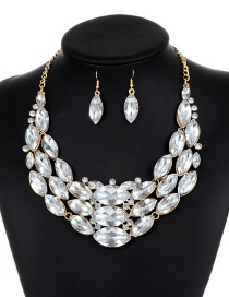 Fashion Silver Color Oval Shape Diamond Decorated Jewelry Sets