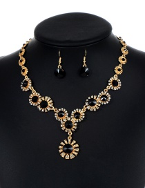 Lovely Black Flower Shape Decorated Jewelry Sets