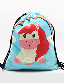 Lovely Blue Unicorn Pattern Decorated Backpack