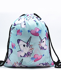 Lovely Light Blue Unicorn&heart Pattern Decorated Backpack