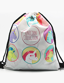 Lovely Light Blue Unicorn&letter Pattern Decorated Backpack