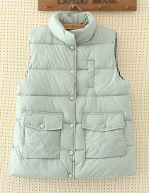 Fashion Light Green Pure Color Decorated Waistcoat