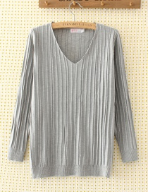 Elegant Gray V-neckline Decorated Sweater