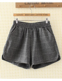 Fashion Dark Gray Square Pattern Decorated Shorts