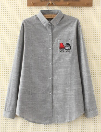 Elegant Gray Hat Pattern Decorated Shirt