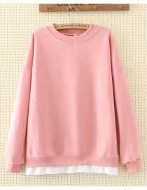 Fashion Pink Pure Color Decorated Blouse