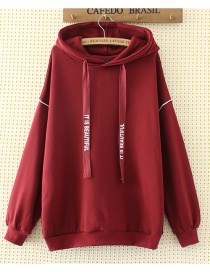 Fashion Red Pure Color Decorated Hoodie